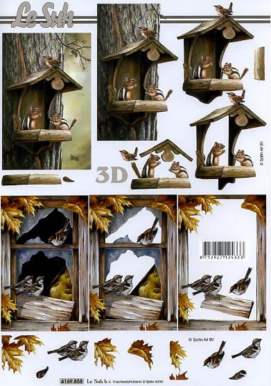 3D Bogen Vogelhaus - Format A4,  Tiere - Eichhörnchen,  Le Suh,  3D Bogen,  Vogelhaus