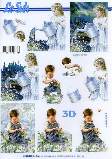 3D Bogen Junge+Mädchen im Garten Format A4, Blumen,  Menschen - Kinder,  Le Suh,  Sommer,  3D Bogen,  Kinder,  Blumen,  Giesskanne