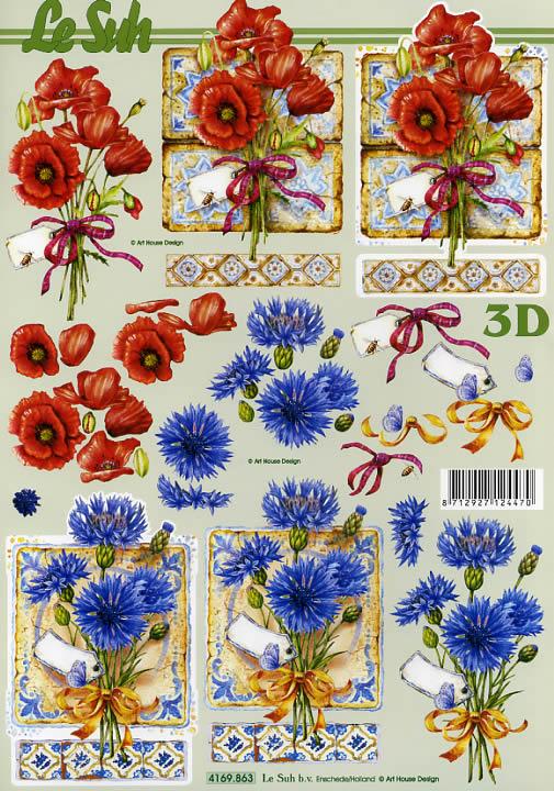 3D Bogen Format A4,  Blumen - Mohn,  Le Suh,  Sommer,  3D Bogen,  Kornblumen,  Mohn