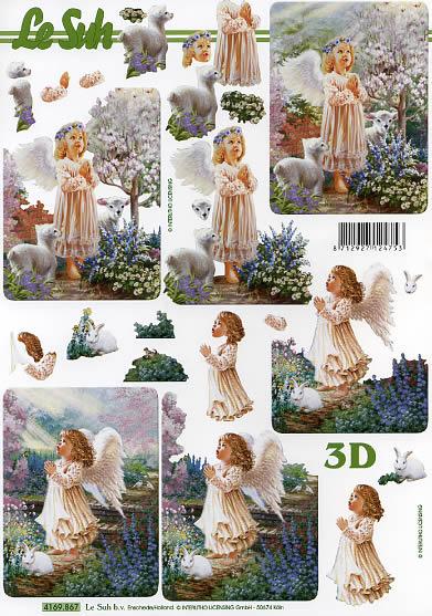 3D Bogen Mädchen - Engel - Format A4,  Regionen - Wald / Wiesen,  Le Suh,  3D Bogen,  Mädchen-Engel,  Lämmchen,  Hase,  Blumenwiese