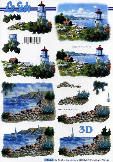 3D Bogen Meeresblick - Leuchtturm - Format A4