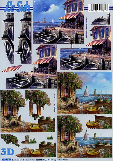 3D Bogen Meeresblick - Terrasse - Format A4,  Regionen - Strand / Meer -  Sonstige,  Le Suh,  3D Bogen,  Meeresblick-Terrasse