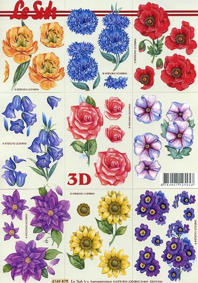 3D Bogen Format A4, Blumen - Mohn,  Blumen - Rosen,  Le Suh,  Sommer,  3D Bogen,  Mohn,  Rosen