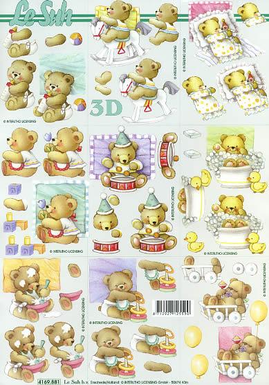 3D Bogen Bärchen - Format A4,  Spielsachen - Stofftiere,  Le Suh,  3D Bogen,  Bärchen,  Spielzeug