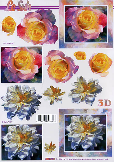 3D Bogen Rose - Format A4,  Blumen - Rosen,  Le Suh,  3D Bogen,  Rosen
