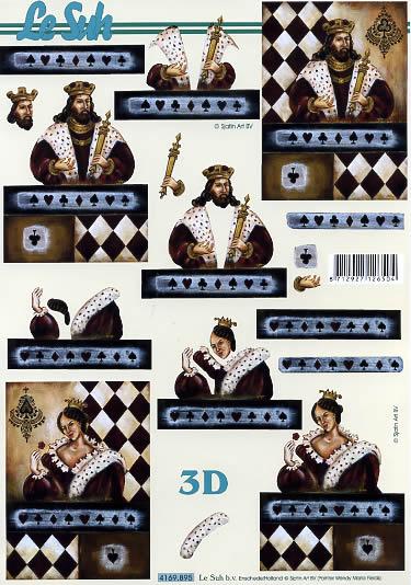 3D Bogen Herzdame - Format A4,  Sonstiges -  Sonstiges,  Le Suh,  3D Bogen,  Kartenspiel