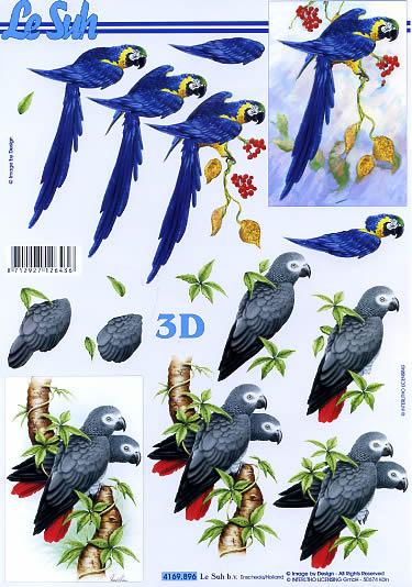 3D Bogen Format A4 Papagei, Tiere - Vögel,  Le Suh,  Sommer,  3D Bogen,  Papagei