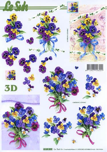 3D Bogen Stiefmütterchenstrauß Format A4, Blumen - Stiefmütterchen,  Le Suh,  Frühjahr,  3D Bogen,  Stiefmütterchen