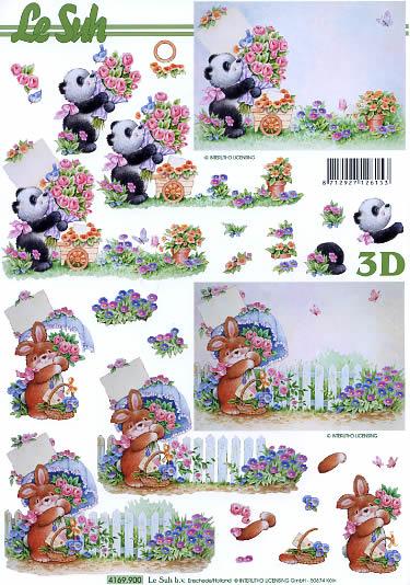 3D Bogen Panda und Kanninchen - Format A4,  Spielsachen - Stofftiere,  Le Suh,  Sommer,  3D Bogen,  Panda,  Hase