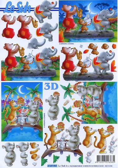3D Bogen Format A4, Tiere - Bären,  Tiere - Elefanten,  Le Suh,  Sommer,  3D Bogen,  Elefant,  Bär,  Nashorn