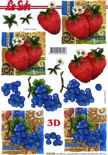 3D Bogen Obst - Format A4,  Früchte - Erdbeeren,  Le Suh,  Sommer,  3D Bogen,  Erdbeeren,  Heidelbeeren