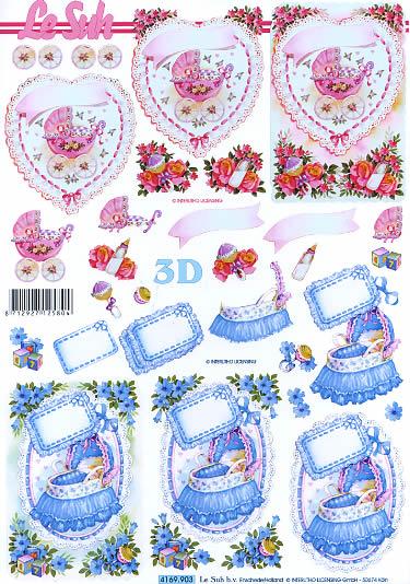 3D Bogen Babywiege - Format A4,  Ereignisse - Geburt,  Le Suh,  3D Bogen,  Babywiege,  Kinderwagen