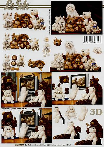 3D Bogen Format A4, Tiere -  Sonstige,  Spielsachen - Stofftiere,  Le Suh,  3D Bogen,  Teddybär,  Hunde