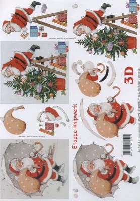 3D Bogen Weihnachtsmann mit Regenschirm - Format A4,  Weihnachten - Weihnachtsmann,  Le Suh,  3D Bogen,  Weihnachtsbaum,  Weihnachtsmann