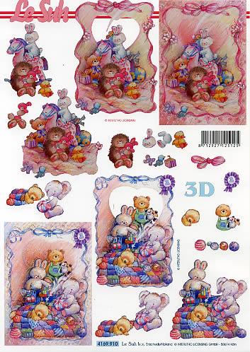 3D Bogen Geburt - Format A4, Spielsachen - Stofftiere,  Ereignisse - Geburt,  Le Suh,  3D Bogen,  Teddybär,  Spielzeug,  Geburt