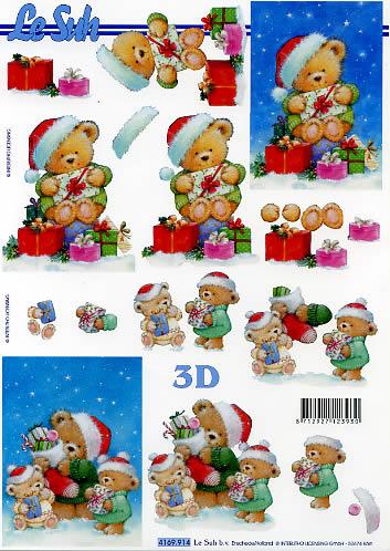 3D Bogen Weihnachtsbär - Format A4, Weihnachten - Geschenke,  Spielsachen - Stofftiere,  Le Suh,  Weihnachten,  3D Bogen,  Teddybär,  Geschenke