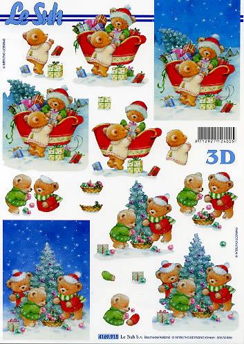 3D Bogen Weih.Bärchen mit Schlitten Format A4, Weihnachten - Geschenke,  Spielsachen - Stofftiere,  Le Suh,  Weihnachten,  3D Bogen,  Geschenke,  Teddybär,  Schlitten