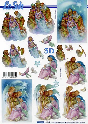 3D Bogen Format A4,  Weihnachten,  Le Suh,  Weihnachten,  3D Bogen,  Jesus,  Maria und Josef