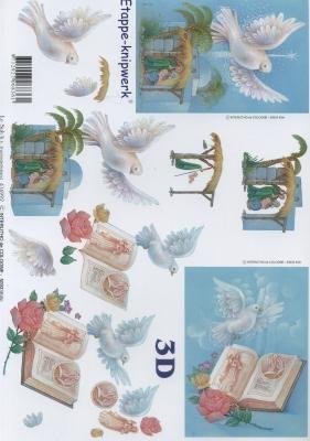 3D Bogen Weihnachten Krippe + Tauben - Format A4,  Ereignisse - Kommunion,  Le Suh,  3D Bogen,  Kommunion,  Konfirmation