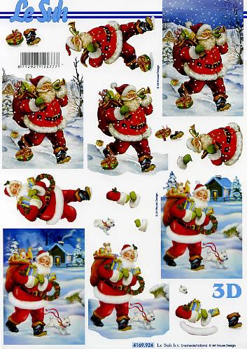 3D Bogen Weihnachtsmann - Format A4,  Winter - Kristalle / Flocken,  Le Suh,  3D Bogen,  Weihnachtsmann mit Hund