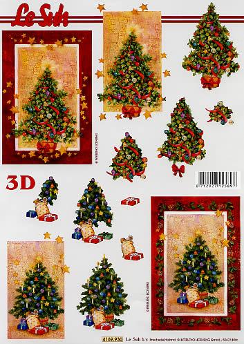 3D Bogen Weihnachtsbaum - Format A4,  Weihnachten - Sterne,  Le Suh,  3D Bogen,  Geschmückter Weihnachtsbaum mit Geschenken drunter