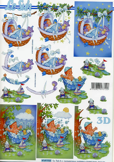 3D Bogen Babyboy - Format A4,  Ereignisse - Geburt,  Le Suh,  3D Bogen,  Badespass,  Im Garten,  im Körbchen