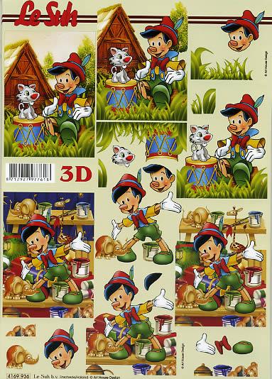 3D Bogen Pinocchio mit Hund - Format A4,  Le Suh,  3D Bogen,  Pinoccio in der Werkstatt