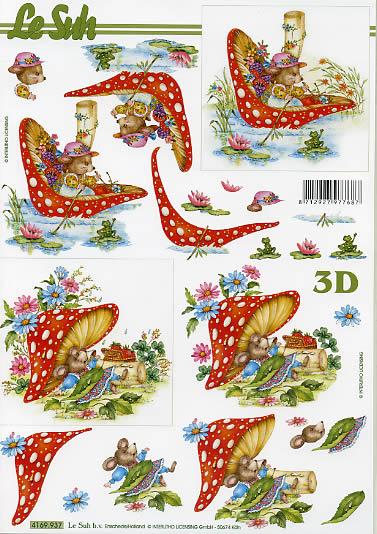 3D Bogen  - Format A4, Tiere -  Sonstige,  Früchte - Pilze,  Le Suh,  Sommer,  3D Bogen,  Maus,  Pilze