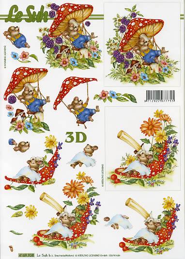 3D Bogen  - Format A4, Tiere -  Sonstige,  Früchte - Pilze,  Le Suh,  Sommer,  3D Bogen,  Pilze,  Maus