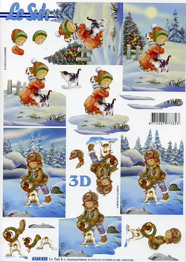 3D Bogen Kinder im Schnee+Katze-Hund - Format A4
