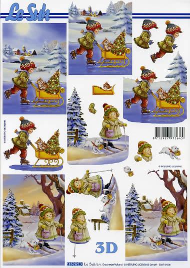 3D Bogen Format A4, Winter - Schlitten,  Menschen - Kinder,  Le Suh,  Winter,  3D Bogen,  Kinder,  Schlitten