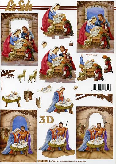 3D Bogen Weihnachtskrippe Format A4,  Weihnachten,  Le Suh,  Weihnachten,  3D Bogen,  Maria und Josef,  Jesus,  Krippe