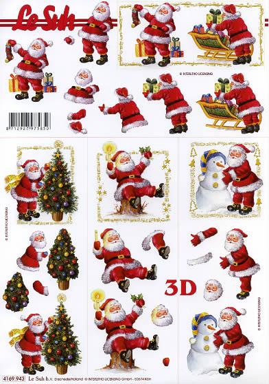3D Bogen  - Format A4,  Weihnachten - Weihnachtsmann,  Le Suh,  Weihnachten,  3D Bogen,  Weihnachtsmann,  Schneemann