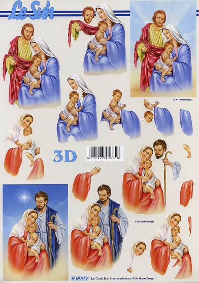 3D Bogen Format A4 - Religion,  Weihnachten,  Le Suh,  Weihnachten,  3D Bogen,  Maria und Josef,  Jesus