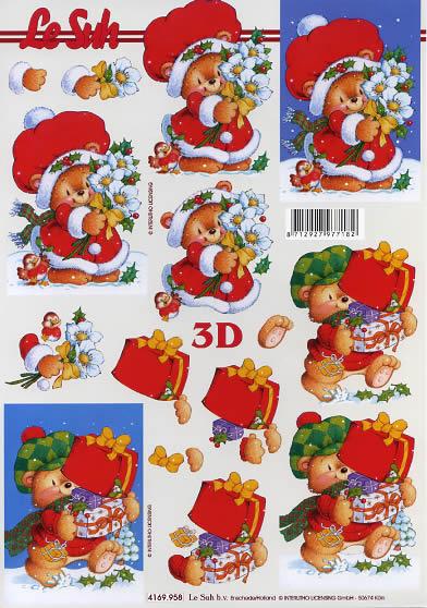 3D Bogen Weihnachtsbär mit Geschenken - Format A4,  Blumen - Christrosen,  Le Suh,  3D Bogen,  Weihnachtsbären