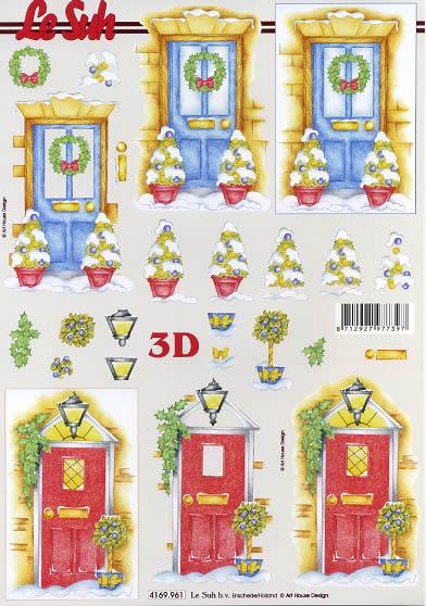 3D Bogen Weihnachtstür - Format A4,  Weihnachten - Weihnachtsbaum,  Le Suh,  3D Bogen,  Weihnachtliche Tür