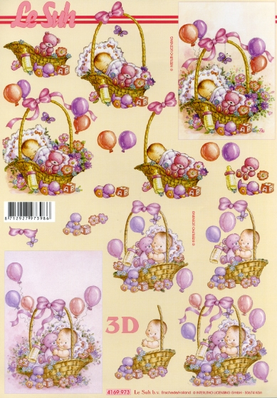 3D Bogen  - Format A4,  Motive - Luftballon,  Le Suh,  3D Bogen,  Baby im Körbchen