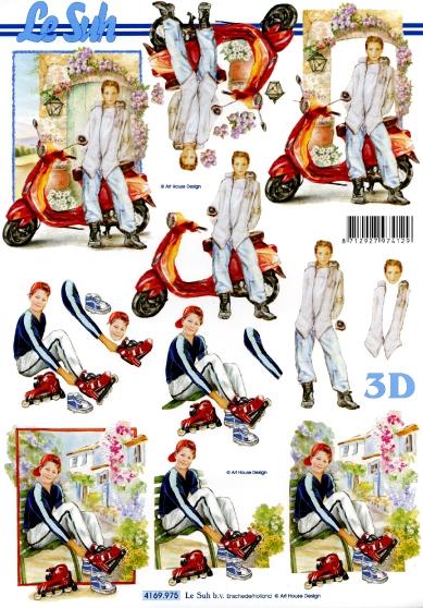 3D Bogen  - Format A4,  Menschen - Personen,  Le Suh,  Sommer,  3D Bogen,  Jungen,  Jugendweihe
