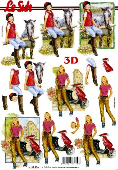 3D Bogen  - Format A4,  Menschen - Personen,  Le Suh,  Sommer,  3D Bogen,  Mädchen,  Jugendweihe