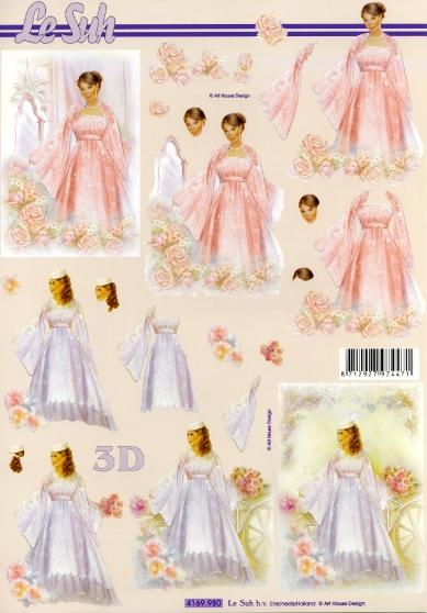 3D Bogen  - Format A4, Ereignisse - Kommunion,  Ereignisse - Hochzeit,  Le Suh,  Sommer,  3D Bogen,  Hochzeit,  Braut,  Konfirmation