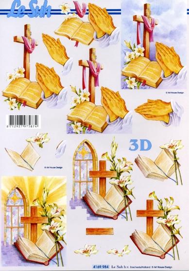 3D Bogen Religie - Format A4,  Ereignisse - Kommunion,  Le Suh,  3D Bogen,  Bibel,  Kirchenfenster mit Kreuz