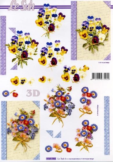 3D Bogen  - Format A4,  Blumen - Stiefmütterchen,  Le Suh,  3D Bogen,  Veilchen,  Blumenstaruß