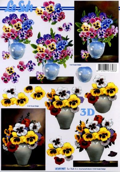 3D Bogen Format A4 Veilchen in Vase,  Blumen - Stiefmütterchen,  Le Suh,  Frühjahr,  3D Bogen,  Stiefmütterchen,  Blumenstrauß