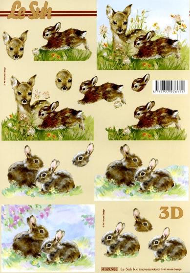 3D Bogen Rehkitz+Hase Format A4, Tiere - Reh / Hirsch,  Tiere - Hasen,  Le Suh,  Sommer,  3D Bogen,  Hasen,  Reh