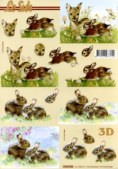 3D Bogen Rehkitz+Hase Format A4