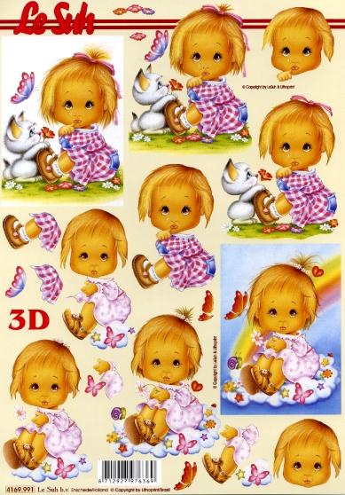 3D Bogen Format A4,  Menschen - Kinder,  Le Suh,  3D Bogen,  Kinder,  Mädchen