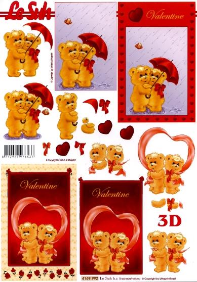 3D Bogen Format A4 - Valentinstag,  Ereignisse - Liebe,  Le Suh,  3D Bogen,  Liebe,  Teddybär