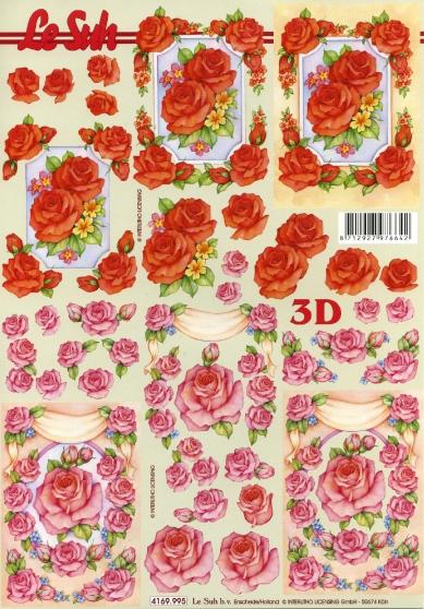3D Bogen  - Format A4,  Blumen - Rosen,  Le Suh,  Sommer,  3D Bogen,  Rosen