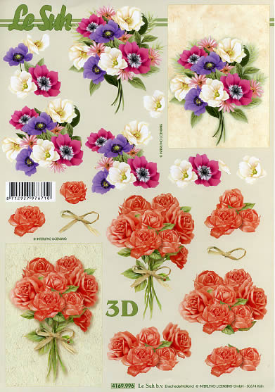 3D Bogen  - Format A4,  Blumen - Rosen,  Le Suh,  Sommer,  3D Bogen,  Rosen,  Blumenstrauß