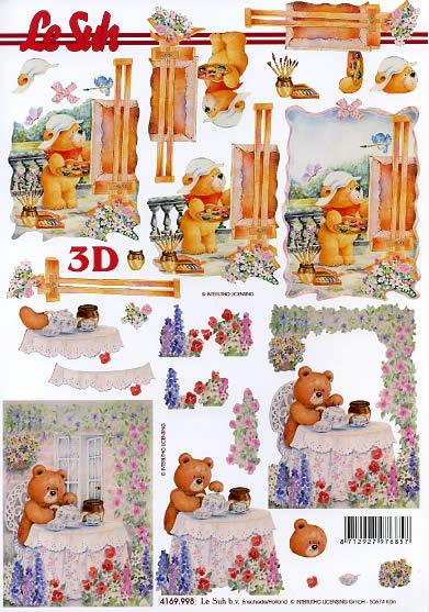 3D Bogen Bär auf Terrasse - Format A4